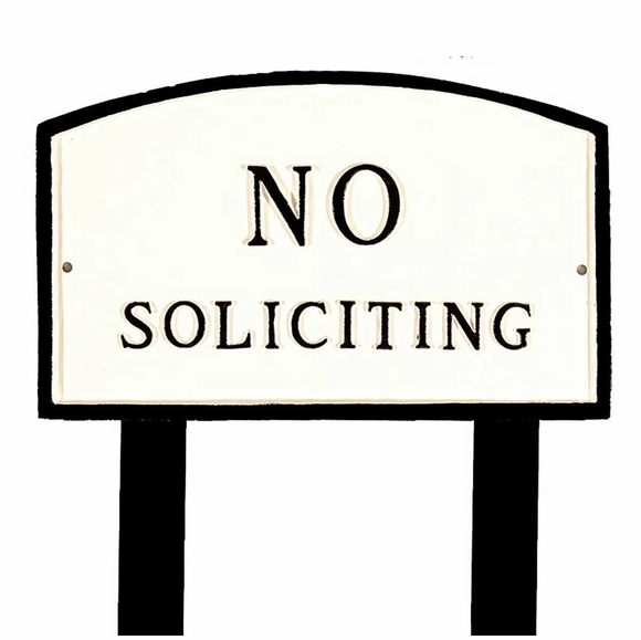 No Soliciting Sign  - Large Metal Sign For Wall or Lawn Stake Mount