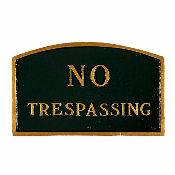 No Trespassing Sign - Large Metal Sign For Wall or Lawn Stake Mount