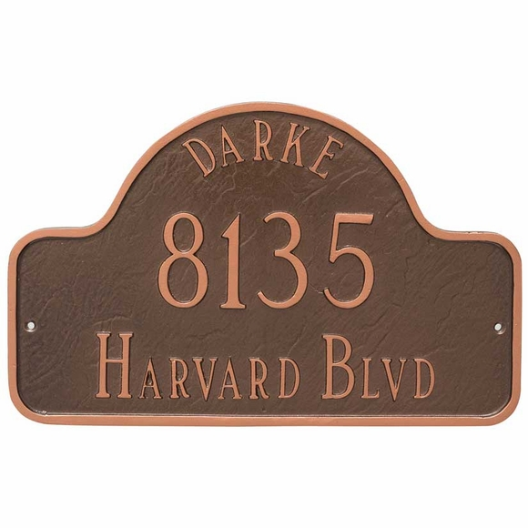 Street Address Plaque with Name - Large Arch Shape Custom Aluminum Metal Sign