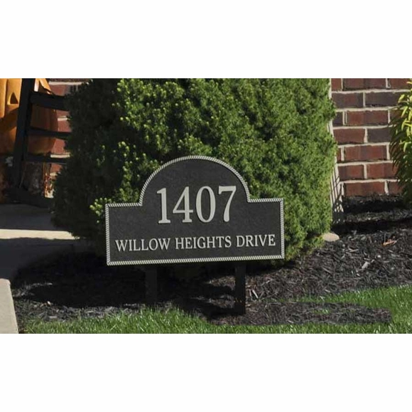 Large Arch Address Plaque with Rope Border and Textured Background