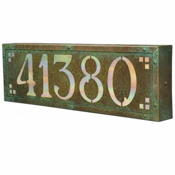 Large Arts & Crafts Lighted Address Plaque