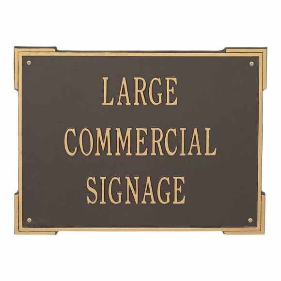 Large Commercial Sign - Metal Plaque With Business Name, Address, or Custom Text