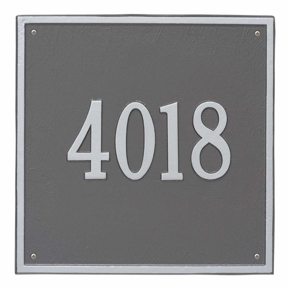 Large House Number Plaque - Square Metal Address Sign