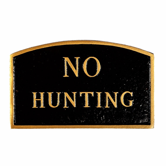 No Hunting Sign  - Large Metal Sign For Wall or Lawn Stake Mount