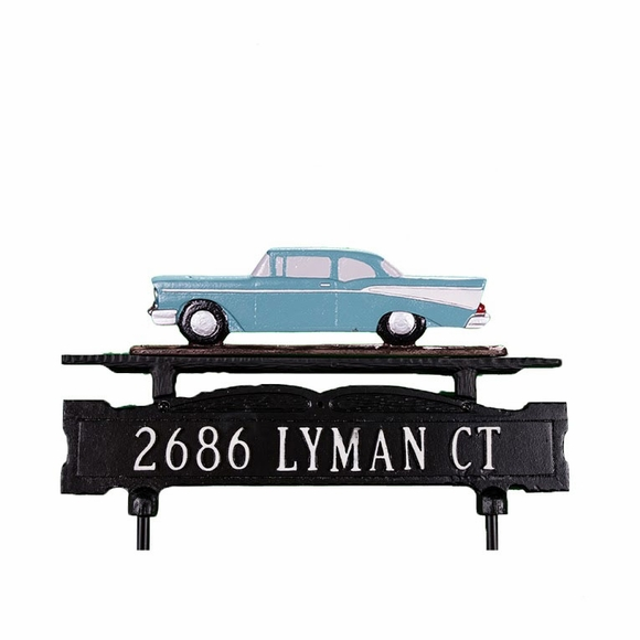 Lawn Address Sign + Classic Car Ornament