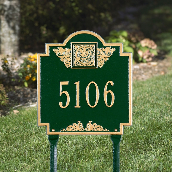 Lawn Mount Address Sign with Monogram - Cut Out Corner Square With Arch Top