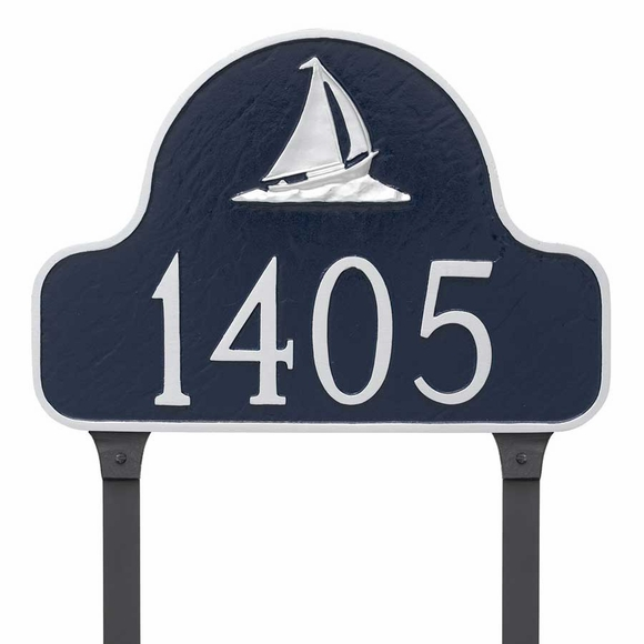 Lawn Mount Sailboat Arch Address Plaque