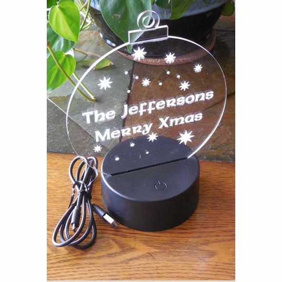 Personalized Christmas Tree Ball Ornament With LED Lighted Base For Table Display
