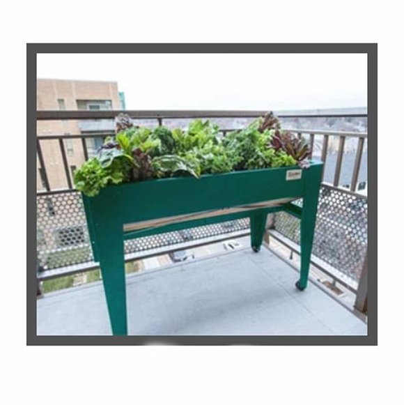 Elevated Balcony Garden - Patio Size Raised Contained Garden With Two Wheels
