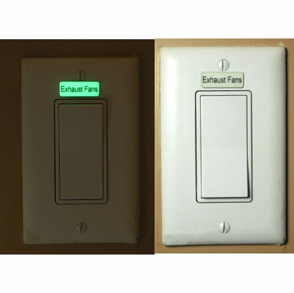 Custom Light Switch Label Glows In Dark, Small Luminescent Adhesive Sign, Identification Plate