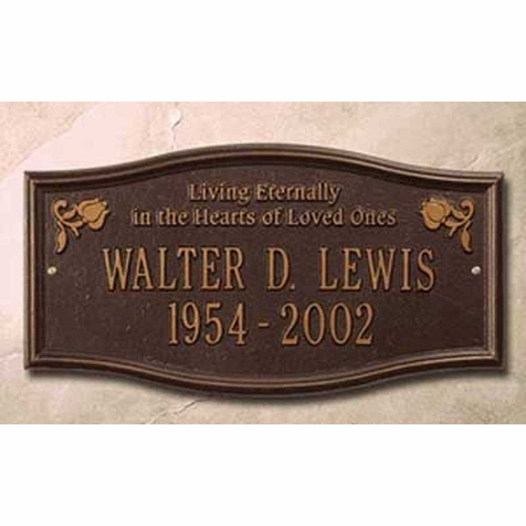 Living Eternally In The Hearts Of Loved Ones Memorial Plaque Personalized With Name and Date