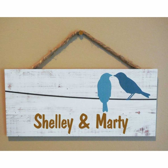 Love Birds Hanging Wall Sign Personalized With Your Name
