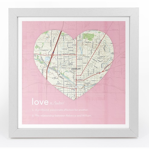 Personalized Heart Shaped Map Framed Wall Art With Definition of Love
