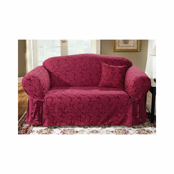 LOVESEAT slipcover - Surefit burgundy scroll