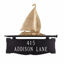 Mailbox Topper Address Plaque with Sailboat on Top - Double Sided House Number Sign
