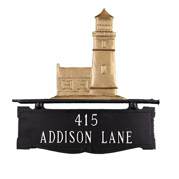 Mailbox Topper House Number Sign with Lighthouse on Top and Address on Both Sides