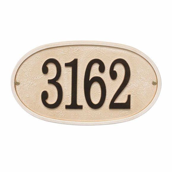 Metal Sandstone Address Number Sign Oval