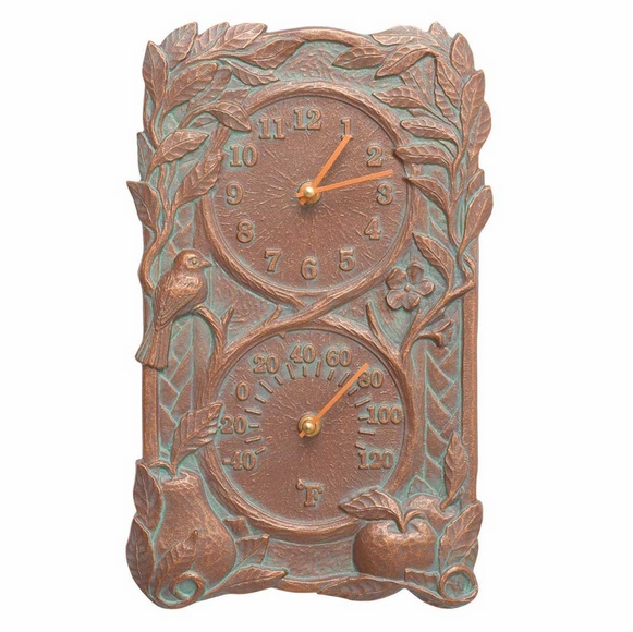 Indoor Outdoor Clock and Thermometer With Fruit & Bird, Grapevine, or Acanthus