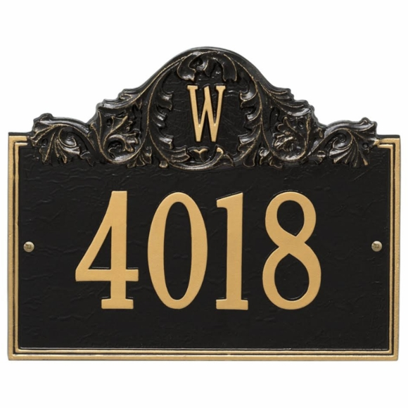 Monogram Address Plaque With House Number