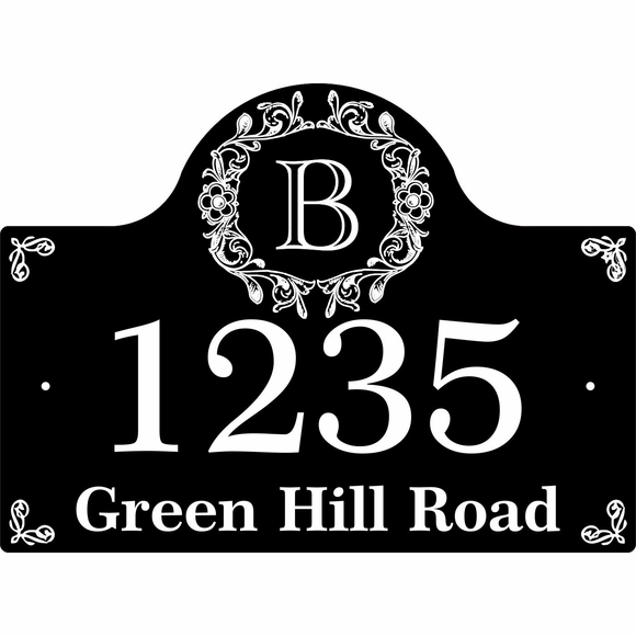Monogram Address Plaque With House Number, Street Name, and Initial Letter At Top