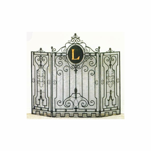 Monogram fireplace screen with initial