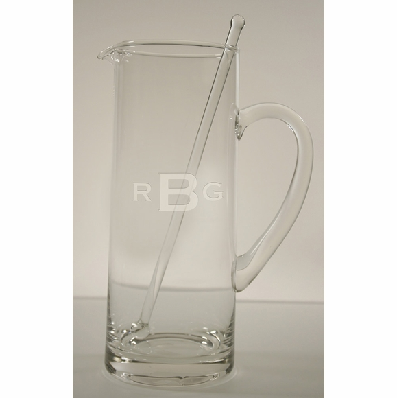 Monogrammed 35 Ounce Glass Pitcher