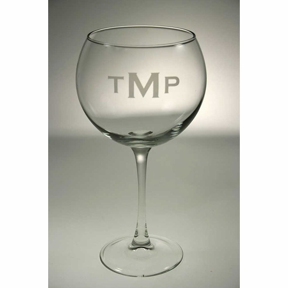Monogrammed Balloon Wine Glasses Set of 4