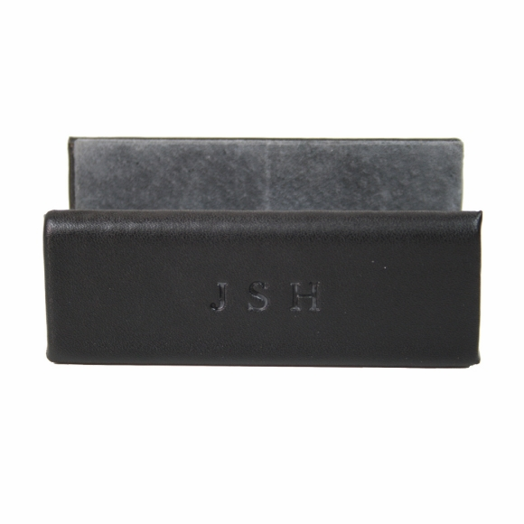 Monogrammed Leather Business Card Holder for Desk