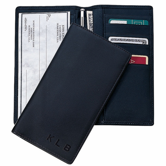 Monogrammed Leather Checkbook Cover & Credit Card Wallet