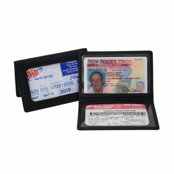 Monogrammed Leather ID Card Holder