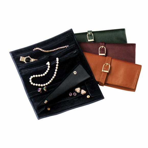 Monogrammed Leather Jewelry Roll Case