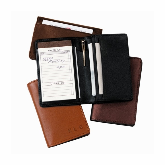 Monogrammed Leather Note Pad Organizer & Business Card Case