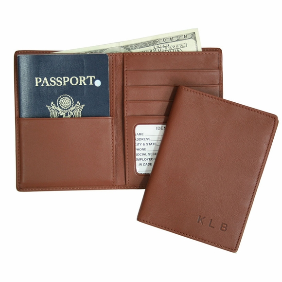 Monogrammed Leather Passport Wallet Case With Your Name or Initials