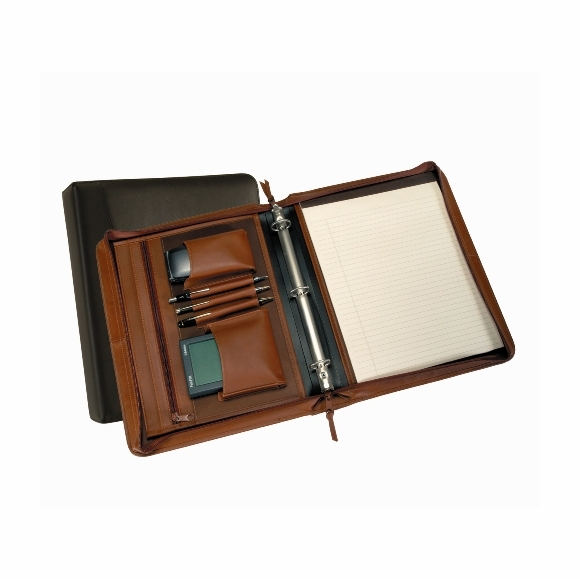 Monogrammed Leather Ring Binder Organizer with Zipper Closure
