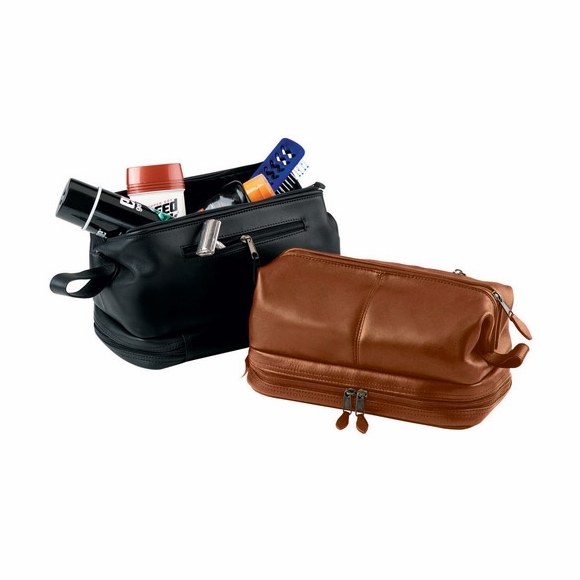 Monogrammed Leather Toiletry Bag