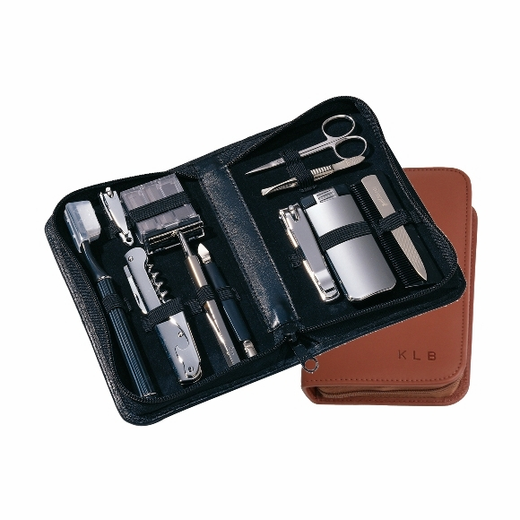 Monogrammed Leather Travel & Grooming Kit