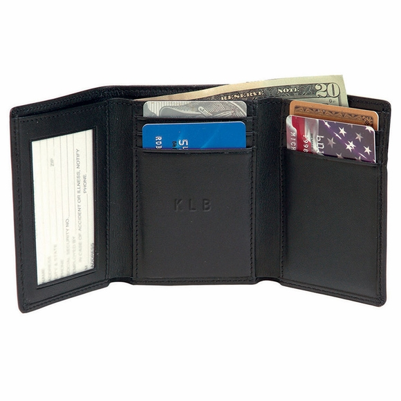 Monogrammed Leather Triple Fold Wallet