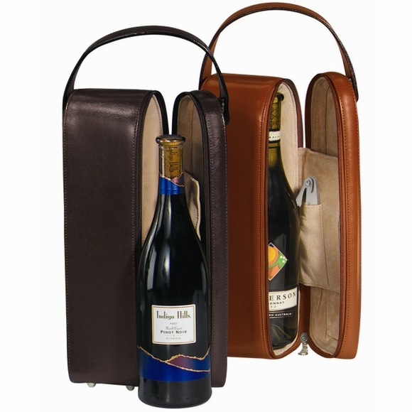 Monogrammed Leather Wine Case