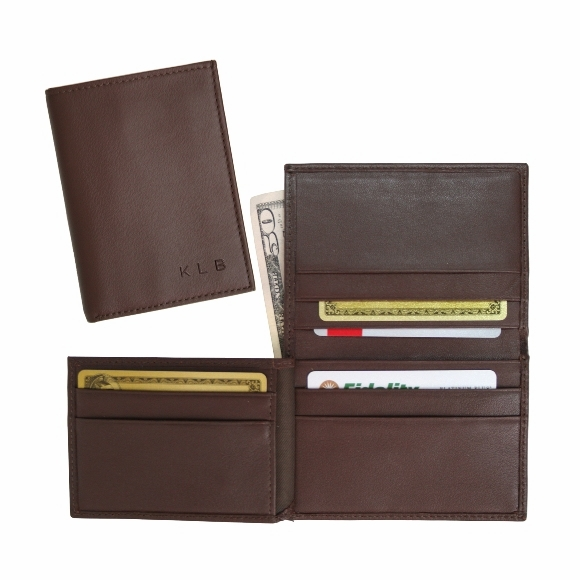 Monogrammed Men's Leather Flip Credit Card Wallet
