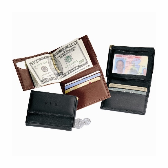 Monogrammed Men's Leather Money Clip Wallet