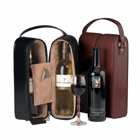 Monogrammed Wine Tote For Two Bottles With Your Name or Initials