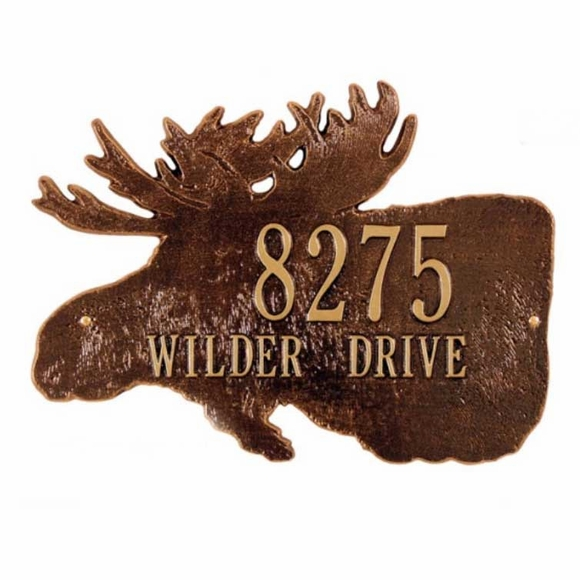 Moose Head Address Plaque With House Number and Street Name