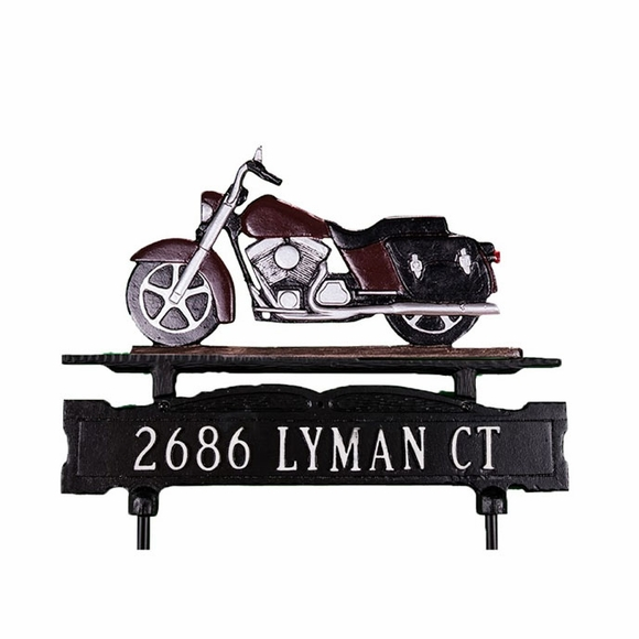 Lawn Mounted Double Sided Address Sign With Motorcycle Ornament On Top