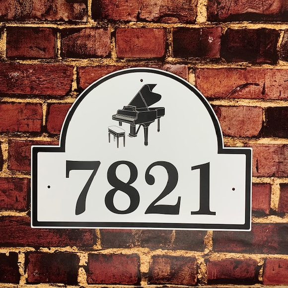 Music Theme Business Name Sign or Address Sign With Piano, Guitar, Violin, or Other Instrument