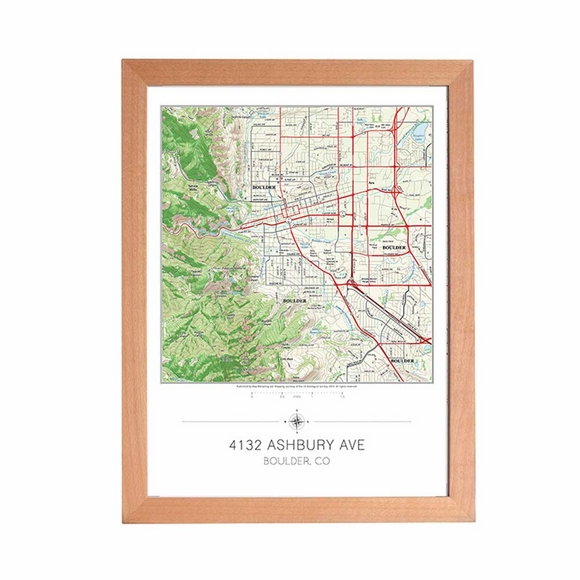 Framed Topographical Map Customized with Your Home Address in the Center