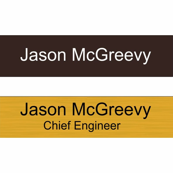 Name Plate - engraved 8x2 sign for name and title on wall, door, or desk