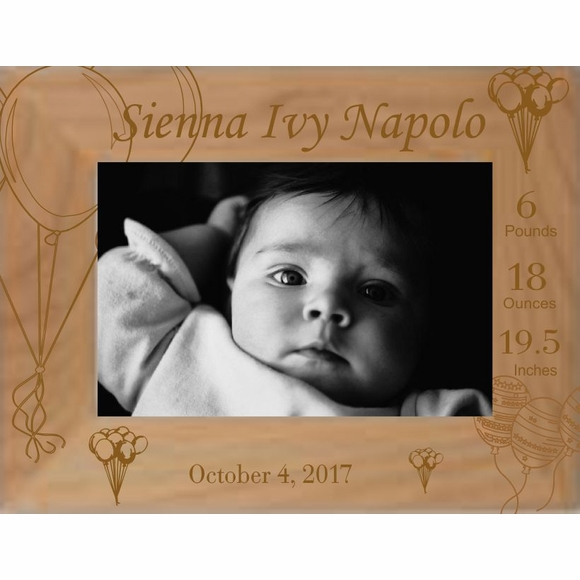 Newborn Baby Personalized Picture Frame with Balloons