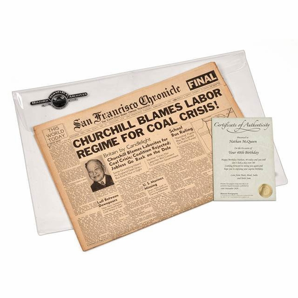 Newspaper From The Day You Were Born - birthday or anniversary gift