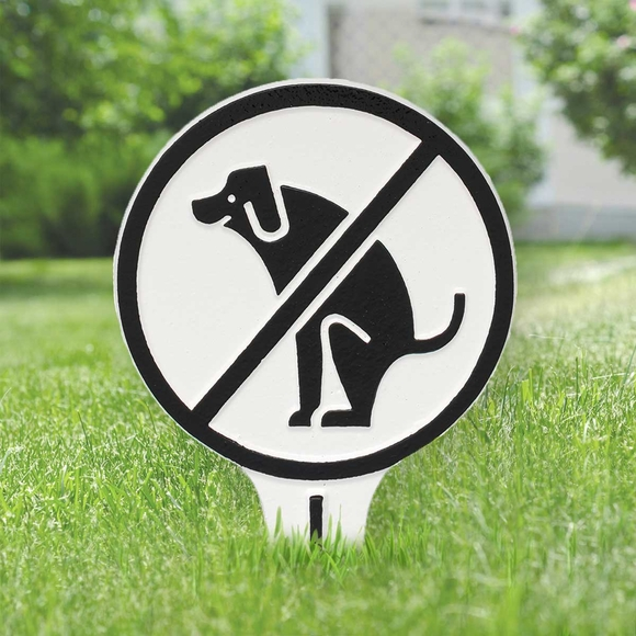 No Dog Poop Lawn Stake Sign - aka Our No Dog Shit Plaque