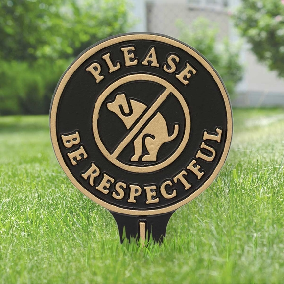 Please Be Respectful No Dog Poop Lawn Stake Sign